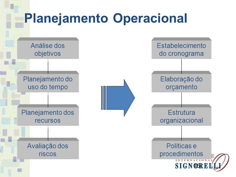 15 Análise dos objetivos Planejamento do uso do tempo Planejamento dos recursos Avaliação dos riscos Políticas e procedimentos Estrutura organizaciona