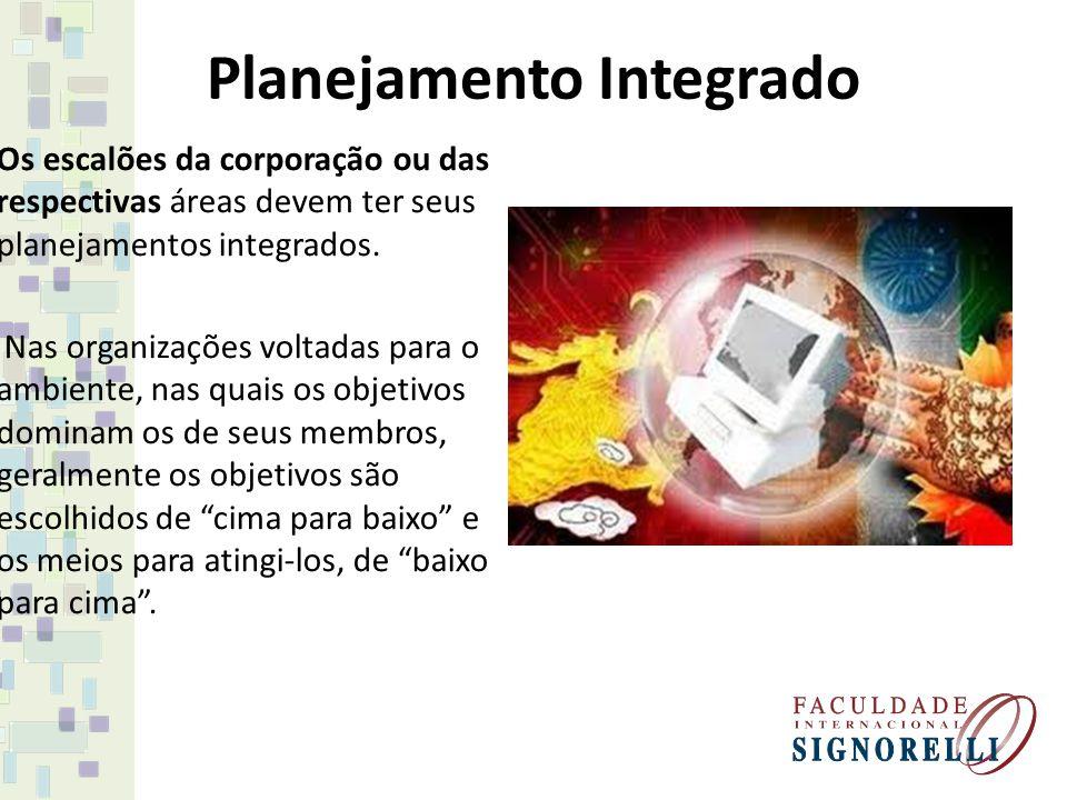 Planejamento Integrado Os escalões da corporação ou das respectivas áreas devem ter seus planejamentos integrados. Nas organizações voltadas para o am
