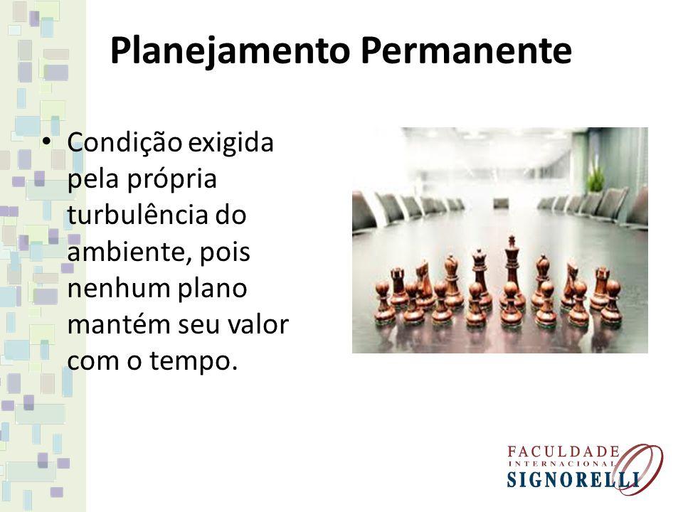 Planejamento Permanente Condição exigida pela própria turbulência do ambiente, pois nenhum plano mantém seu valor com o tempo.
