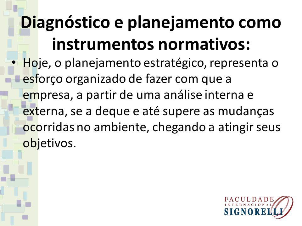 Diagnóstico e planejamento como instrumentos normativos: Hoje, o planejamento estratégico, representa o esforço organizado de fazer com que a empresa,