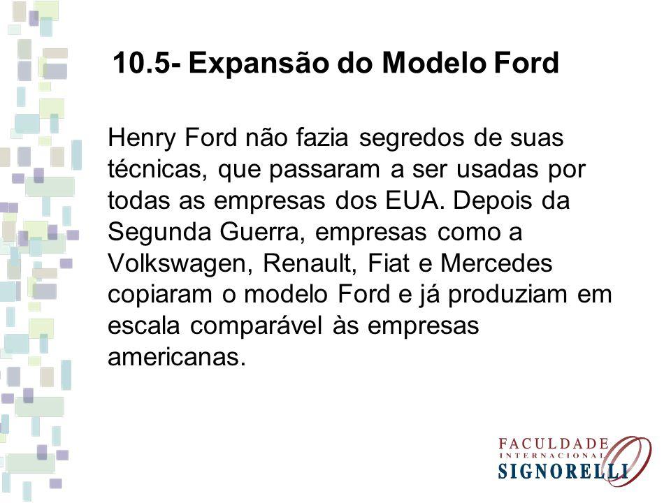 Henry Ford não fazia segredos de suas técnicas, que passaram a ser usadas por todas as empresas dos EUA.
