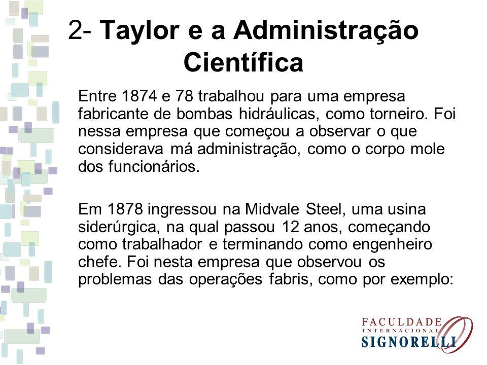 2- Taylor e a Administração Científica Entre 1874 e 78 trabalhou para uma empresa fabricante de bombas hidráulicas, como torneiro. Foi nessa empresa q