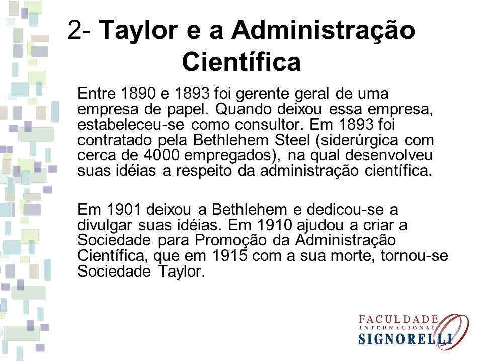 2- Taylor e a Administração Científica Entre 1890 e 1893 foi gerente geral de uma empresa de papel. Quando deixou essa empresa, estabeleceu-se como co