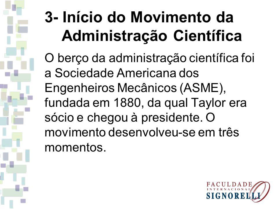 3- Início do Movimento da Administração Científica O berço da administração científica foi a Sociedade Americana dos Engenheiros Mecânicos (ASME), fundada em 1880, da qual Taylor era sócio e chegou à presidente.