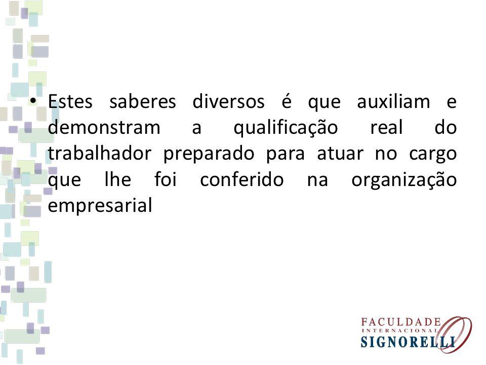 Estes saberes diversos é que auxiliam e demonstram a qualificação real do trabalhador preparado para atuar no cargo que lhe foi conferido na organizaç