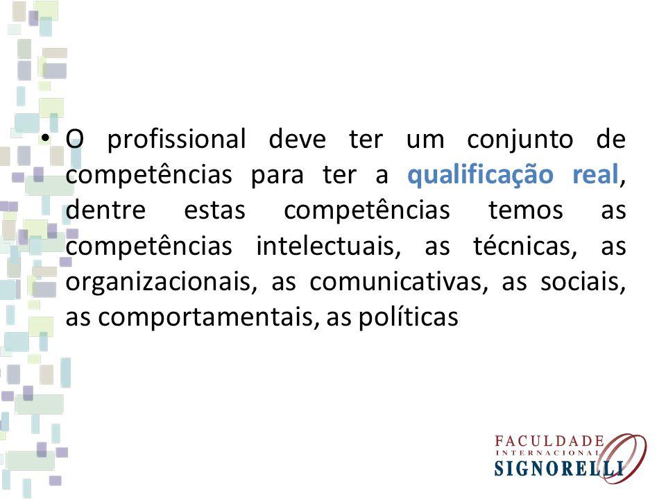 O profissional deve ter um conjunto de competências para ter a qualificação real, dentre estas competências temos as competências intelectuais, as téc