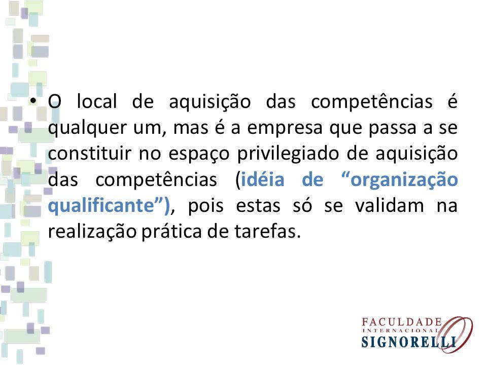 O local de aquisição das competências é qualquer um, mas é a empresa que passa a se constituir no espaço privilegiado de aquisição das competências (i