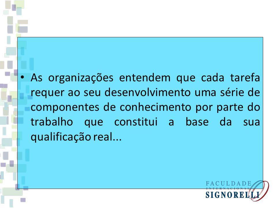 As organizações entendem que cada tarefa requer ao seu desenvolvimento uma série de componentes de conhecimento por parte do trabalho que constitui a