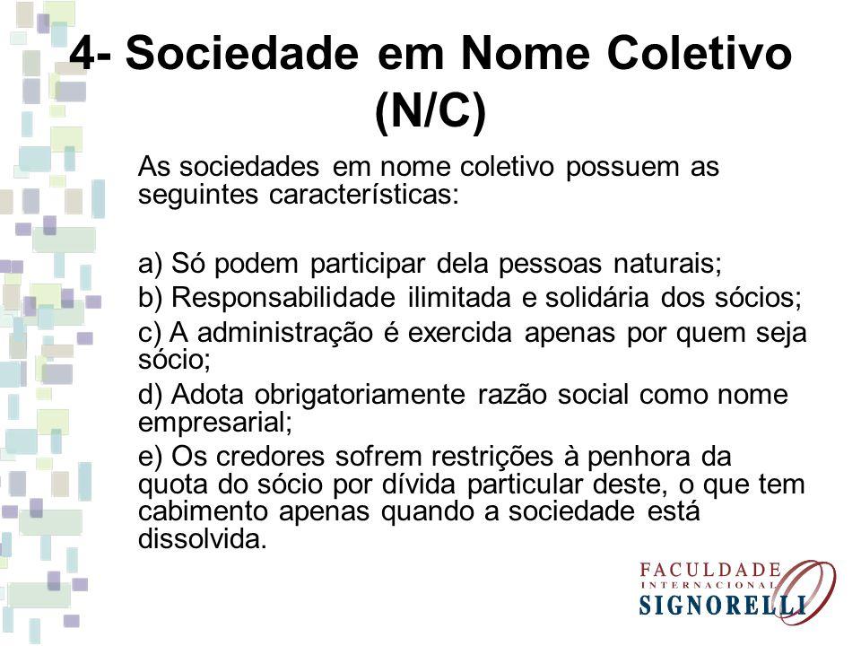 4- Sociedade em Nome Coletivo (N/C) As sociedades em nome coletivo possuem as seguintes características: a) Só podem participar dela pessoas naturais;