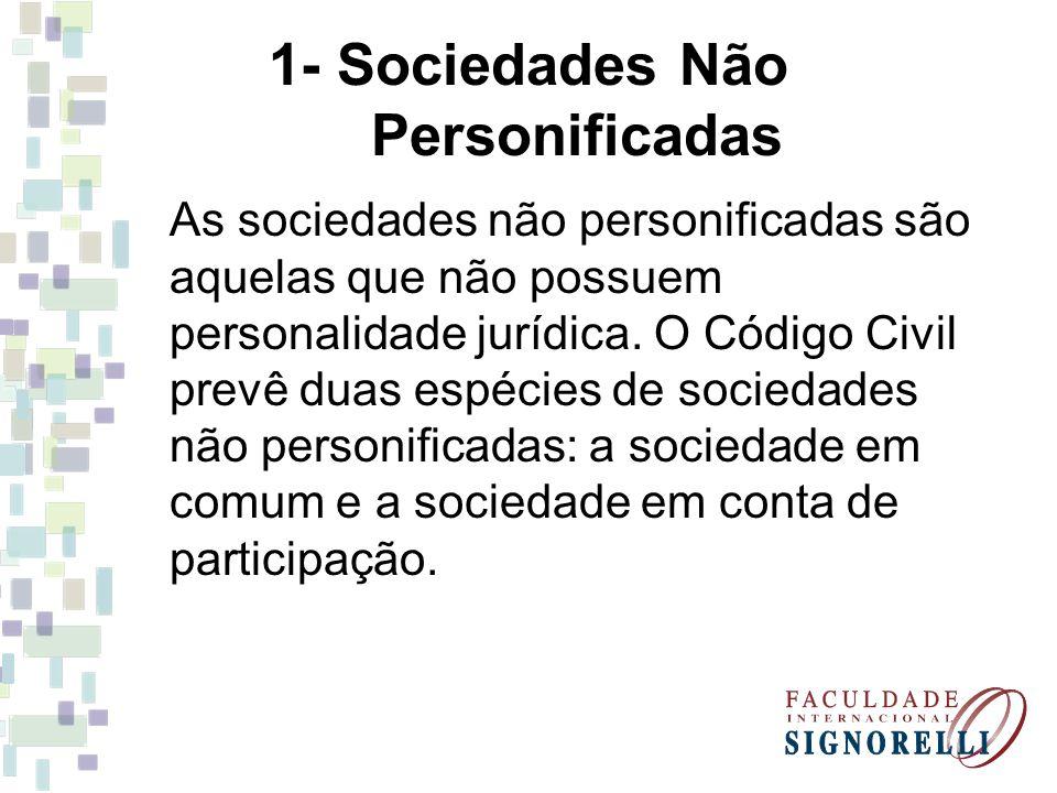 1- Sociedades Não Personificadas As sociedades não personificadas são aquelas que não possuem personalidade jurídica. O Código Civil prevê duas espéci