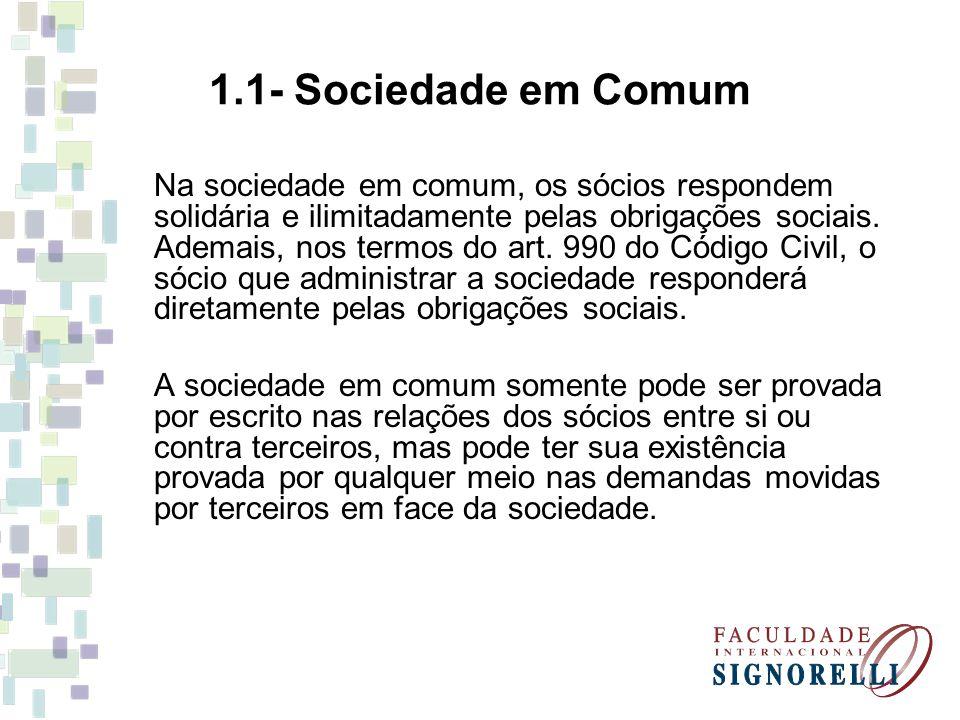1.1- Sociedade em Comum Na sociedade em comum, os sócios respondem solidária e ilimitadamente pelas obrigações sociais. Ademais, nos termos do art. 99