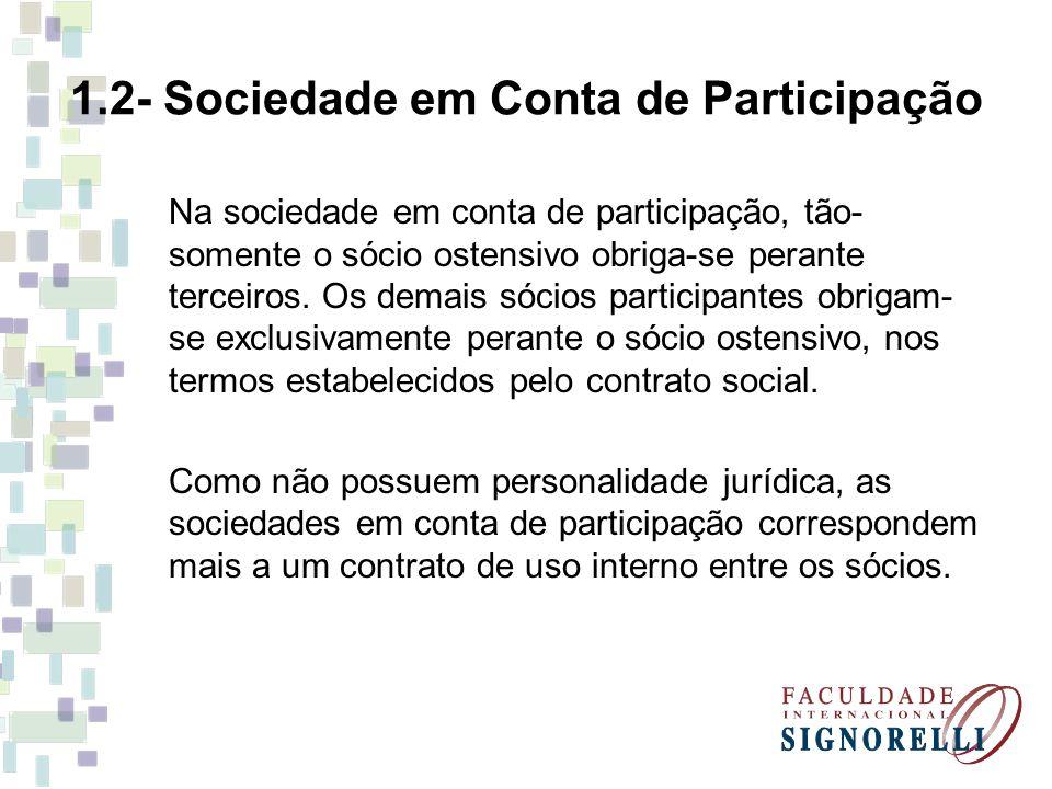 1.2- Sociedade em Conta de Participação Na sociedade em conta de participação, tão- somente o sócio ostensivo obriga-se perante terceiros. Os demais s