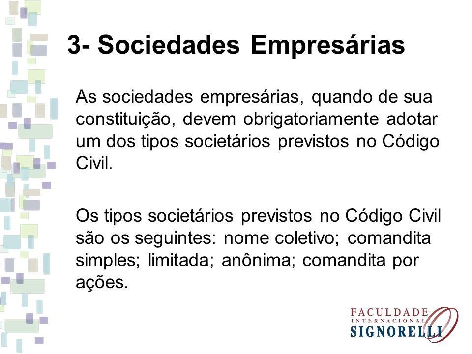 3- Sociedades Empresárias As sociedades empresárias, quando de sua constituição, devem obrigatoriamente adotar um dos tipos societários previstos no C