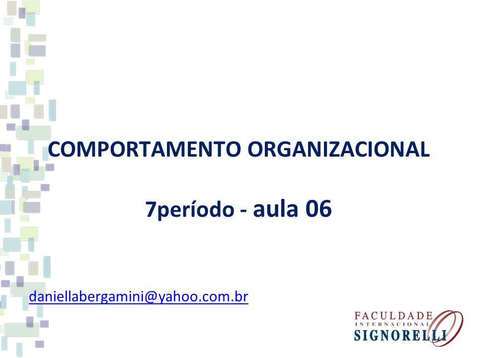COMPORTAMENTO ORGANIZACIONAL 7período - aula 06 daniellabergamini@yahoo.com.br