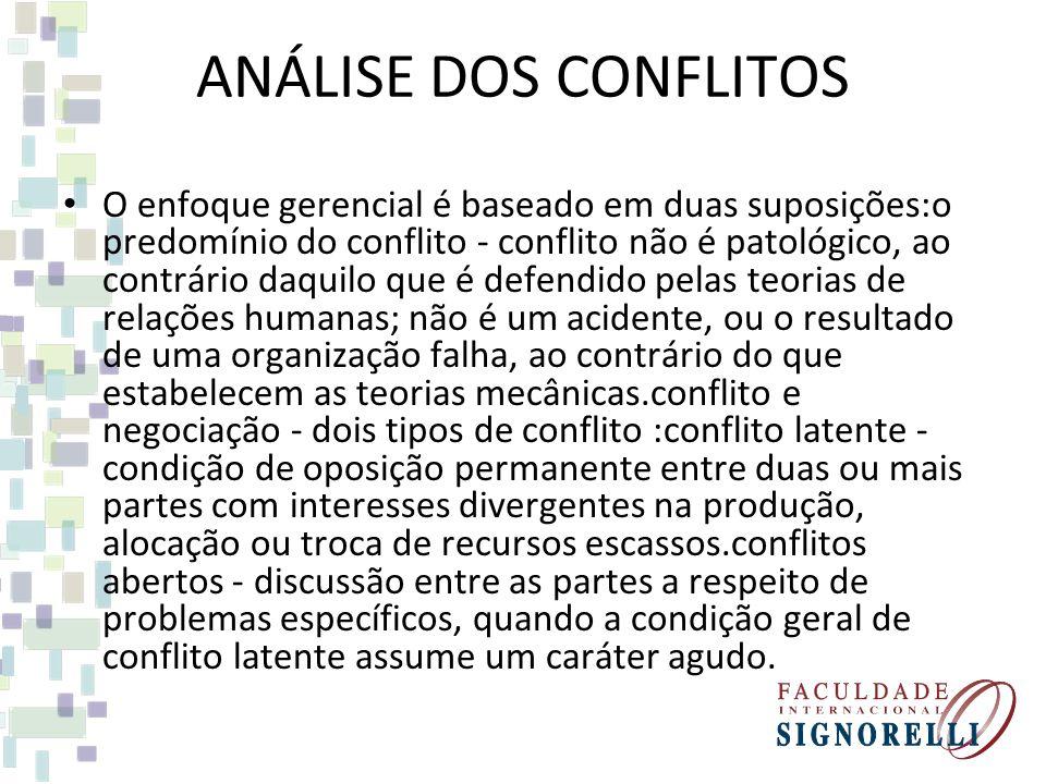 ANÁLISE DOS CONFLITOS O enfoque gerencial é baseado em duas suposições:o predomínio do conflito - conflito não é patológico, ao contrário daquilo que