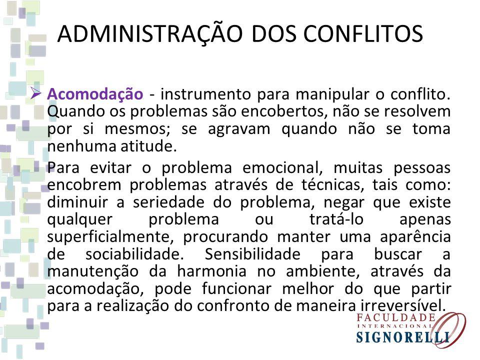 ADMINISTRAÇÃO DOS CONFLITOS Acomodação - instrumento para manipular o conflito. Quando os problemas são encobertos, não se resolvem por si mesmos; se