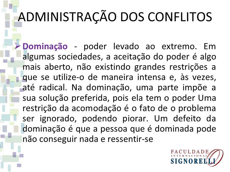 ADMINISTRAÇÃO DOS CONFLITOS Dominação - poder levado ao extremo.