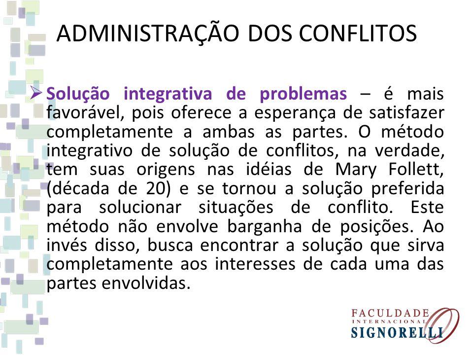 ADMINISTRAÇÃO DOS CONFLITOS Solução integrativa de problemas – é mais favorável, pois oferece a esperança de satisfazer completamente a ambas as parte