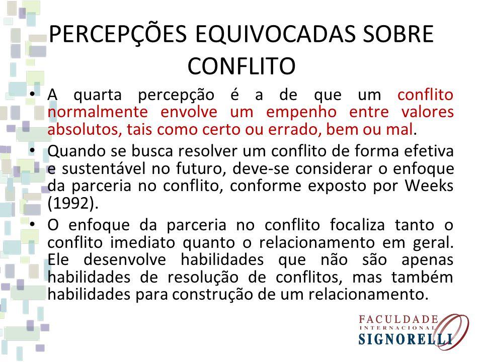 PERCEPÇÕES EQUIVOCADAS SOBRE CONFLITO A quarta percepção é a de que um conflito normalmente envolve um empenho entre valores absolutos, tais como cert
