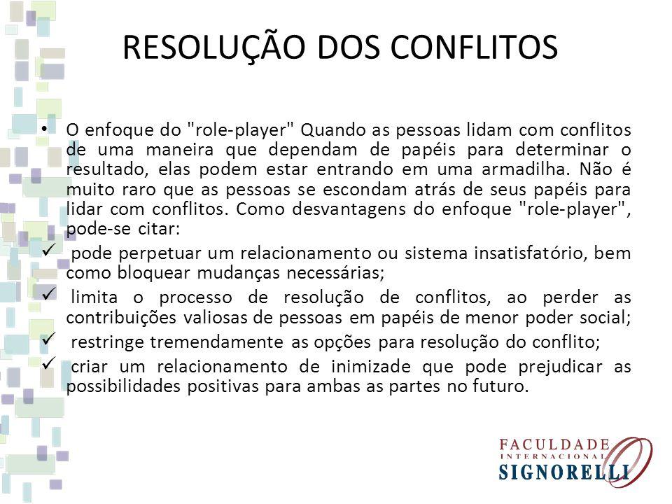RESOLUÇÃO DOS CONFLITOS O enfoque do role-player Quando as pessoas lidam com conflitos de uma maneira que dependam de papéis para determinar o resultado, elas podem estar entrando em uma armadilha.