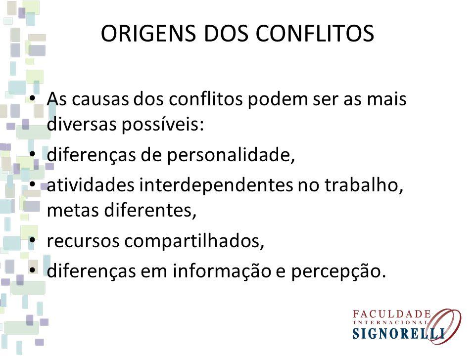 ORIGENS DOS CONFLITOS As causas dos conflitos podem ser as mais diversas possíveis: diferenças de personalidade, atividades interdependentes no trabal