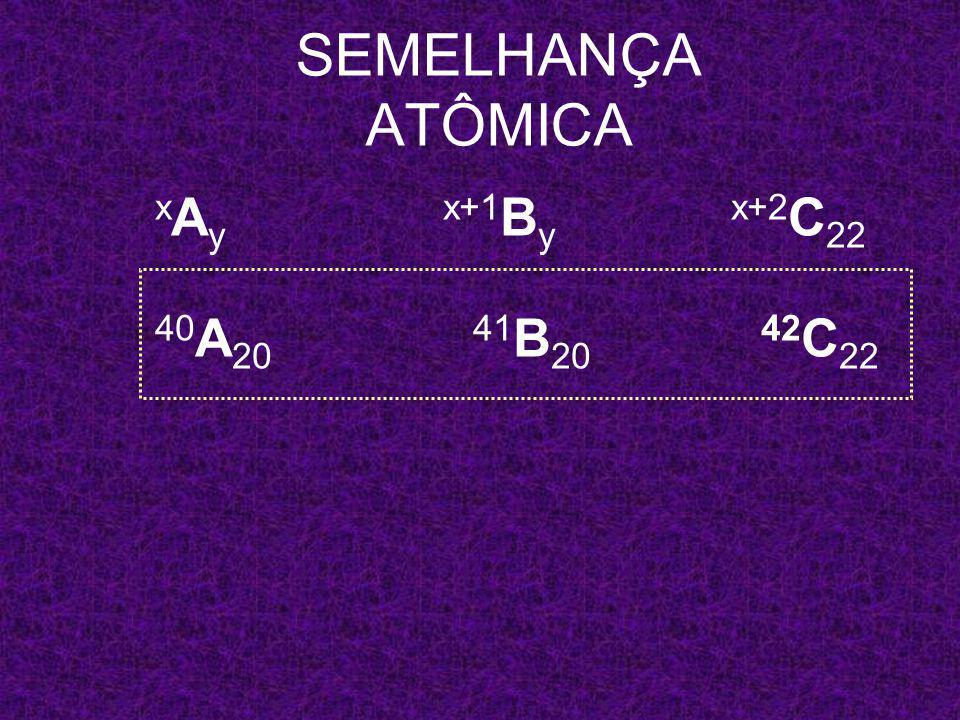 x A y x+1 B y x+2 C 22 SEMELHANÇA ATÔMICA 40 A 20 41 B y 42 C 22