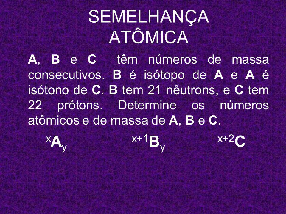 x A y x+1 B y x+2 C 22 SEMELHANÇA ATÔMICA 40 A 20 41 B 20 42 C 22