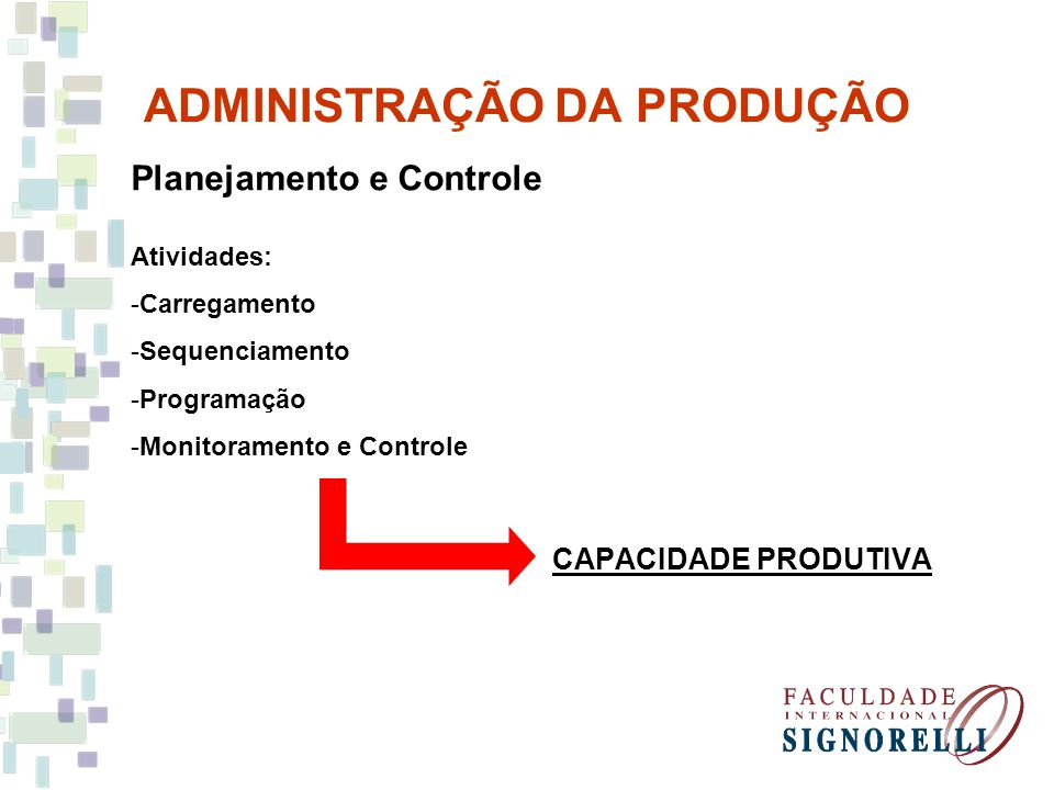 ADMINISTRAÇÃO DA PRODUÇÃO Planejamento e Controle Atividades: -Carregamento -Sequenciamento -Programação -Monitoramento e Controle CAPACIDADE PRODUTIV