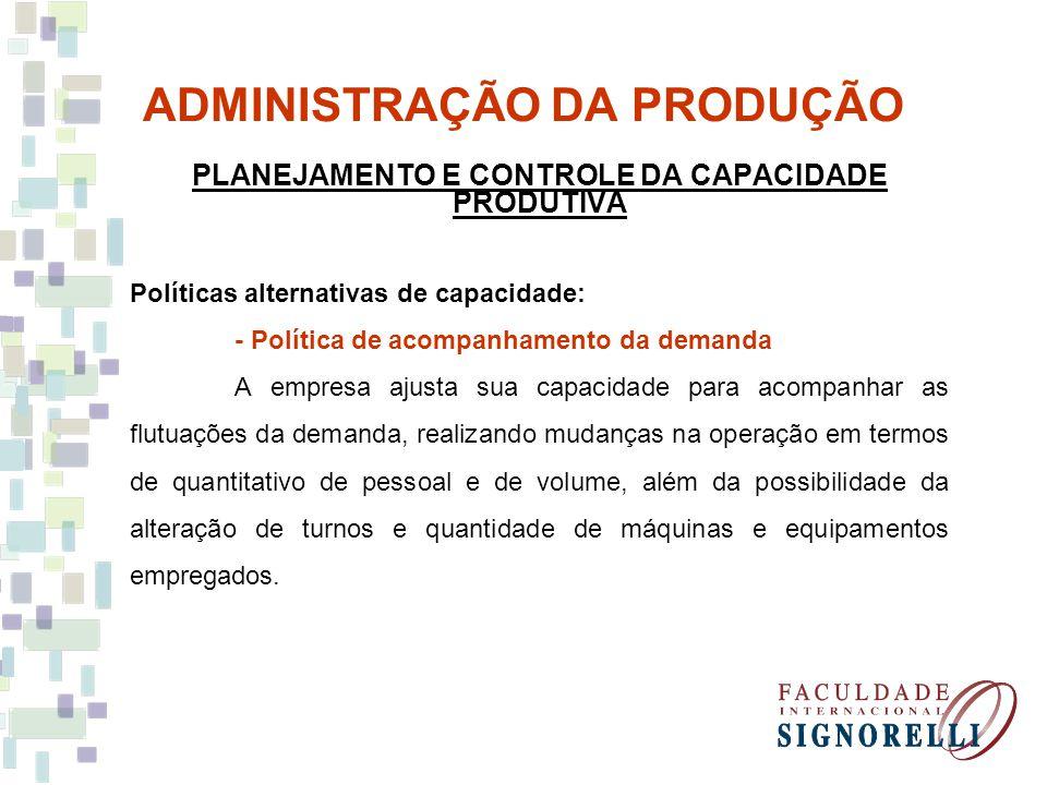 ADMINISTRAÇÃO DA PRODUÇÃO PLANEJAMENTO E CONTROLE DA CAPACIDADE PRODUTIVA Políticas alternativas de capacidade: - Política de acompanhamento da demand
