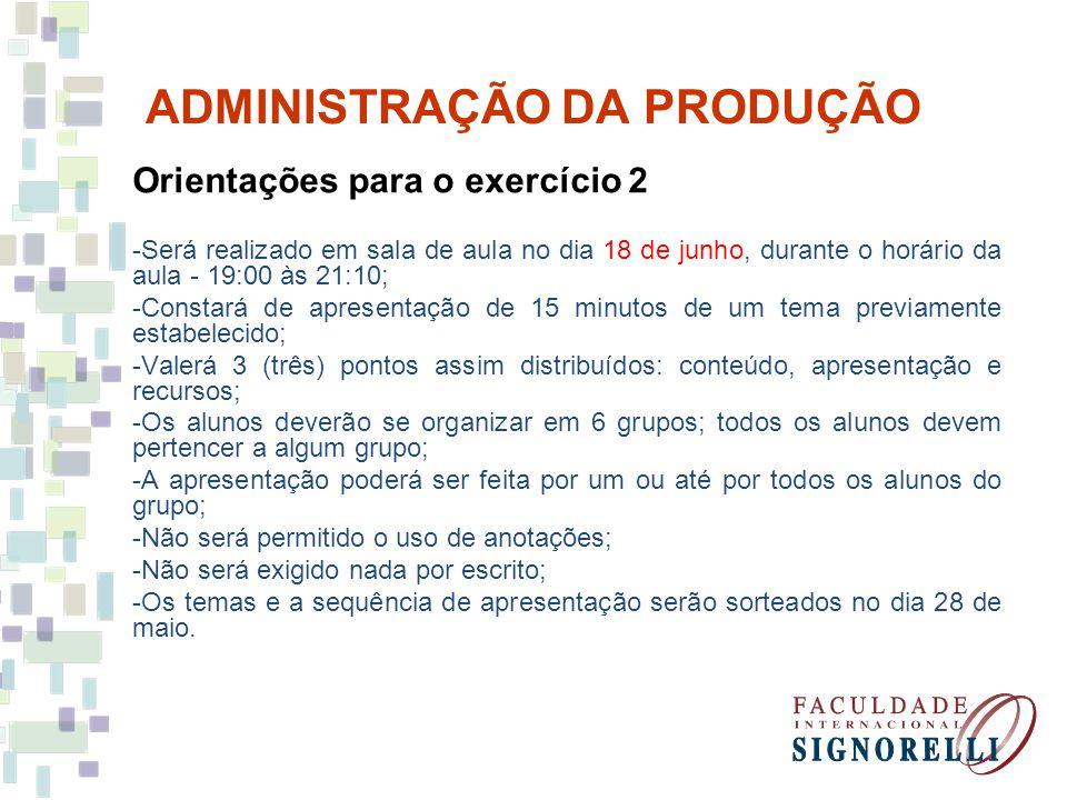 ADMINISTRAÇÃO DA PRODUÇÃO Orientações para o exercício 2 -Será realizado em sala de aula no dia 18 de junho, durante o horário da aula - 19:00 às 21:1