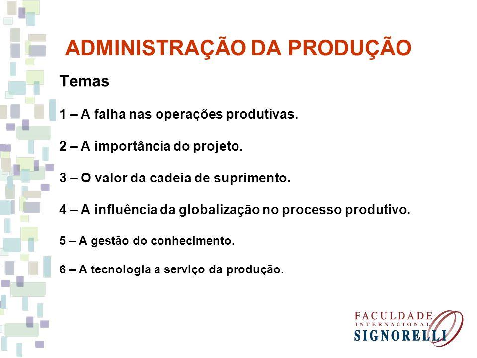 ADMINISTRAÇÃO DA PRODUÇÃO Temas 1 – A falha nas operações produtivas. 2 – A importância do projeto. 3 – O valor da cadeia de suprimento. 4 – A influên