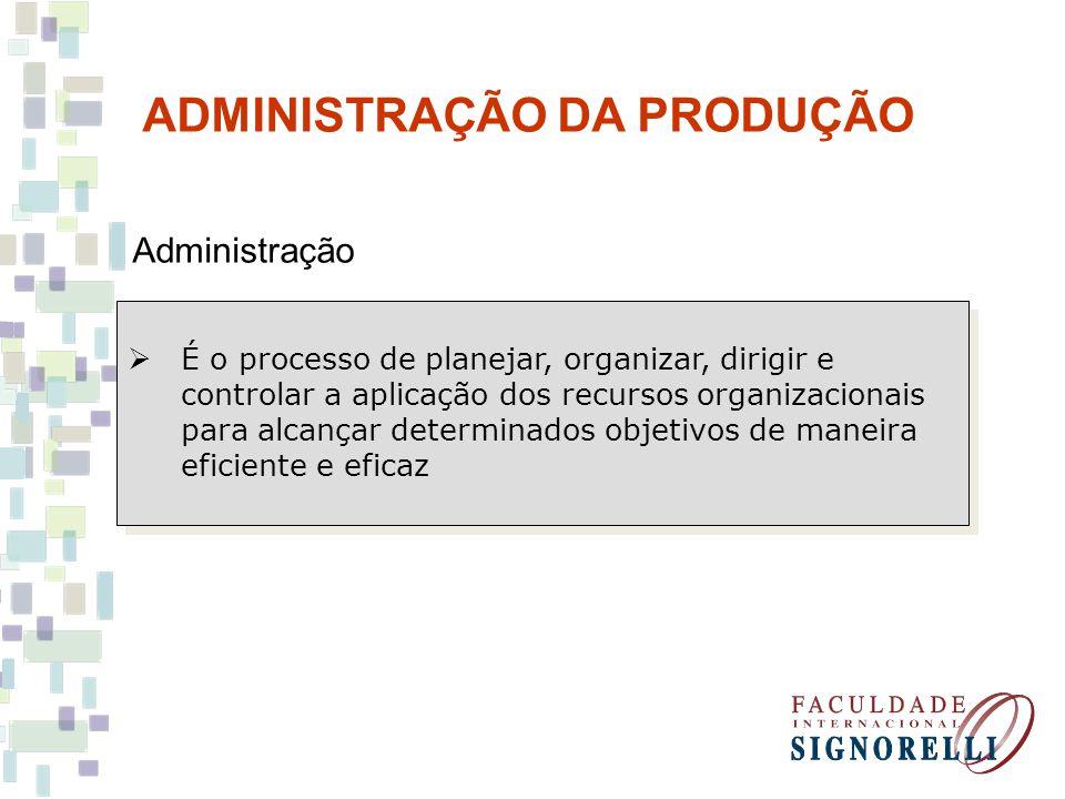 ADMINISTRAÇÃO DA PRODUÇÃO Administração É o processo de planejar, organizar, dirigir e controlar a aplicação dos recursos organizacionais para alcançar determinados objetivos de maneira eficiente e eficaz