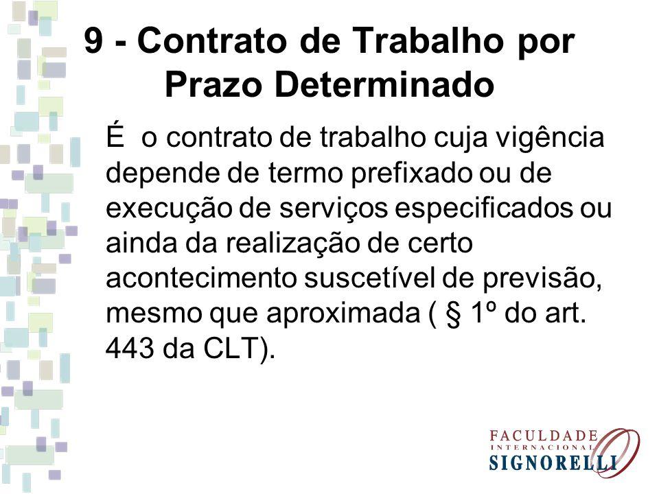 9 - Contrato de Trabalho por Prazo Determinado É o contrato de trabalho cuja vigência depende de termo prefixado ou de execução de serviços especifica