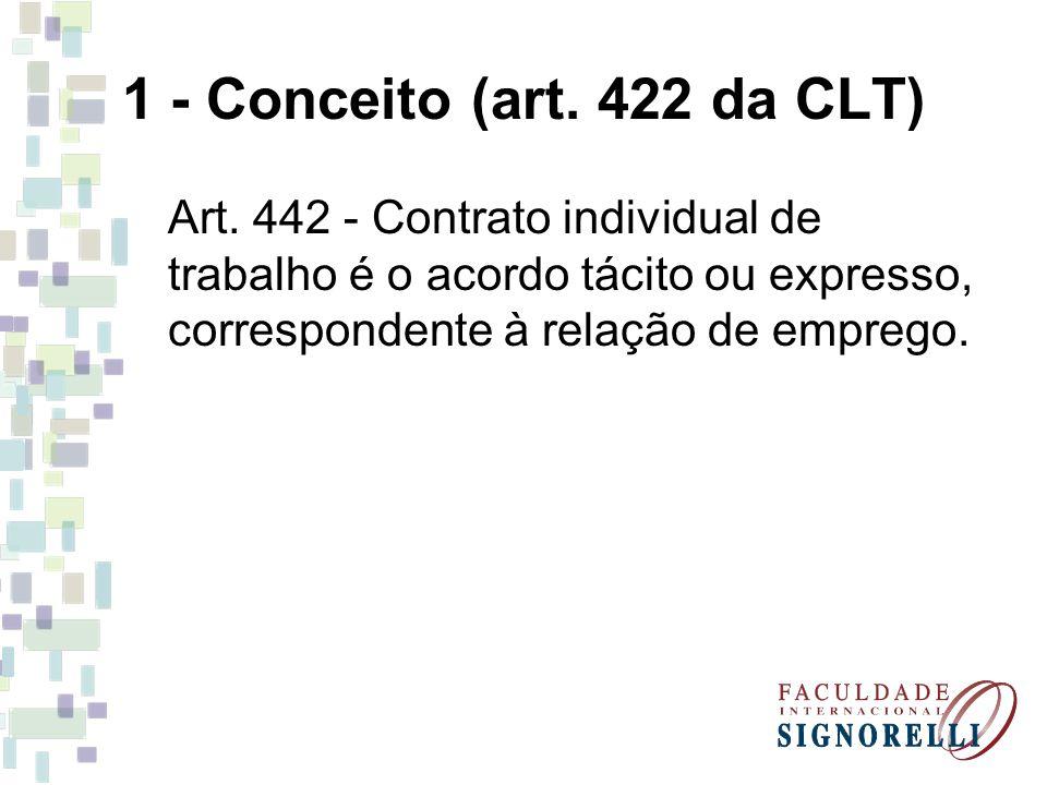 1 - Conceito (art. 422 da CLT) Art. 442 - Contrato individual de trabalho é o acordo tácito ou expresso, correspondente à relação de emprego.