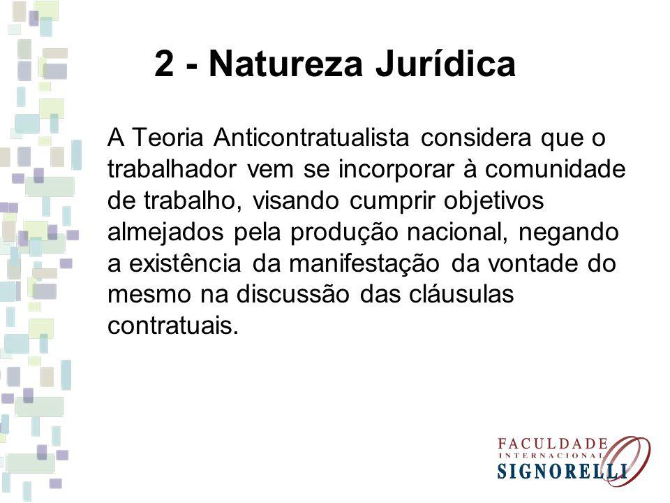 2 - Natureza Jurídica A Teoria Anticontratualista considera que o trabalhador vem se incorporar à comunidade de trabalho, visando cumprir objetivos al