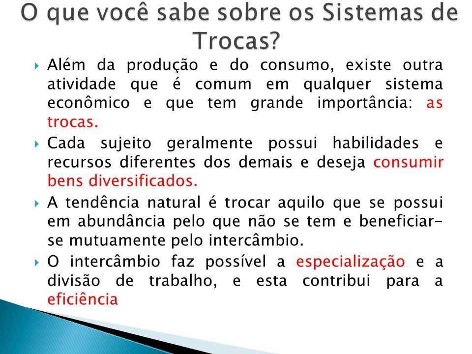 Além da produção e do consumo, existe outra atividade que é comum em qualquer sistema econômico e que tem grande importância: as trocas. Cada sujeito