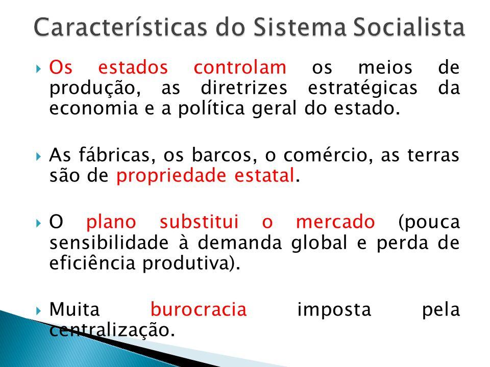 Os estados controlam os meios de produção, as diretrizes estratégicas da economia e a política geral do estado. As fábricas, os barcos, o comércio, as