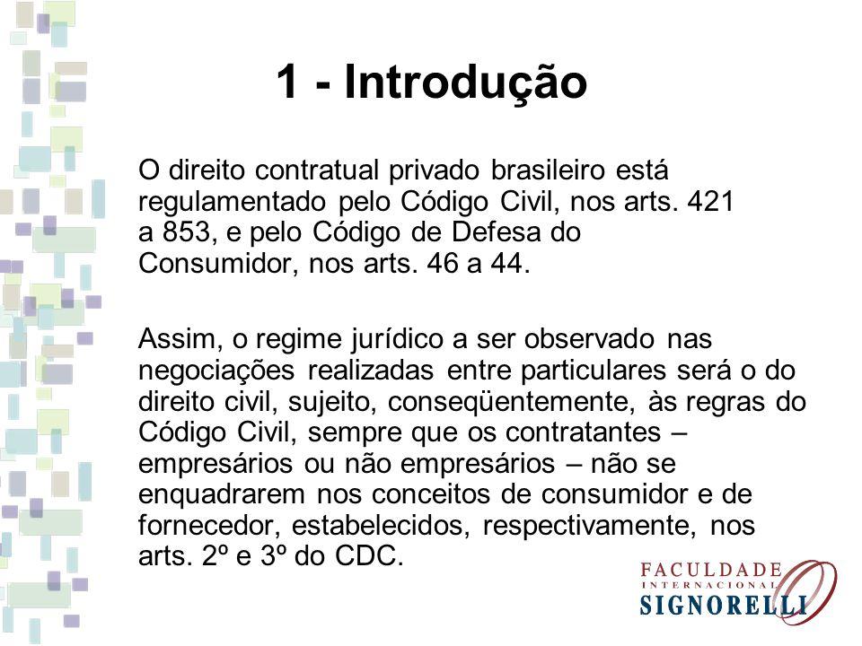 1 - Introdução O direito contratual privado brasileiro está regulamentado pelo Código Civil, nos arts. 421 a 853, e pelo Código de Defesa do Consumido