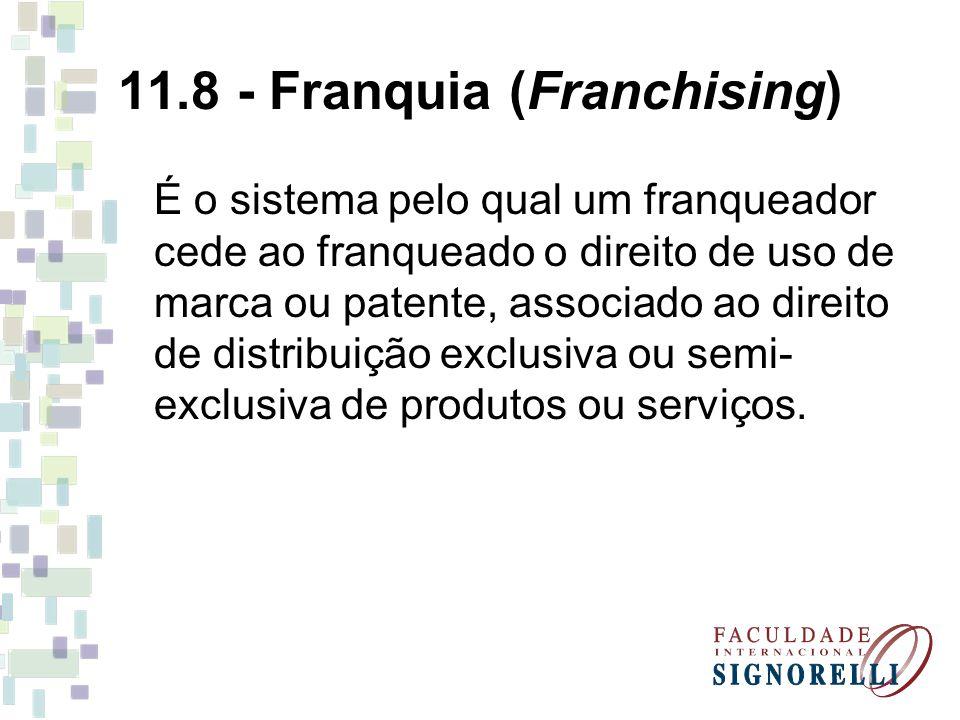 11.8 - Franquia (Franchising) É o sistema pelo qual um franqueador cede ao franqueado o direito de uso de marca ou patente, associado ao direito de di