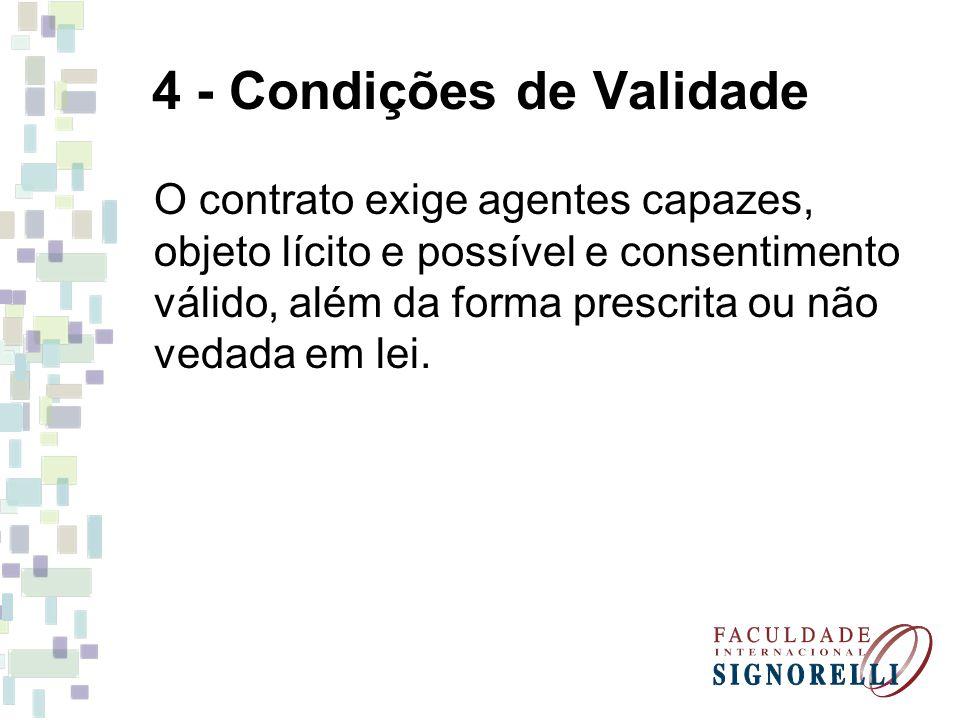 4 - Condições de Validade O contrato exige agentes capazes, objeto lícito e possível e consentimento válido, além da forma prescrita ou não vedada em