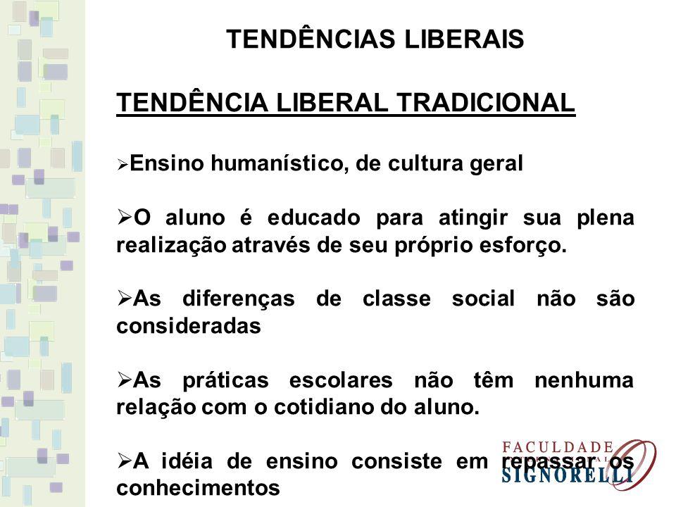 TENDÊNCIAS LIBERAIS TENDÊNCIA LIBERAL TRADICIONAL Ensino humanístico, de cultura geral O aluno é educado para atingir sua plena realização através de seu próprio esforço.