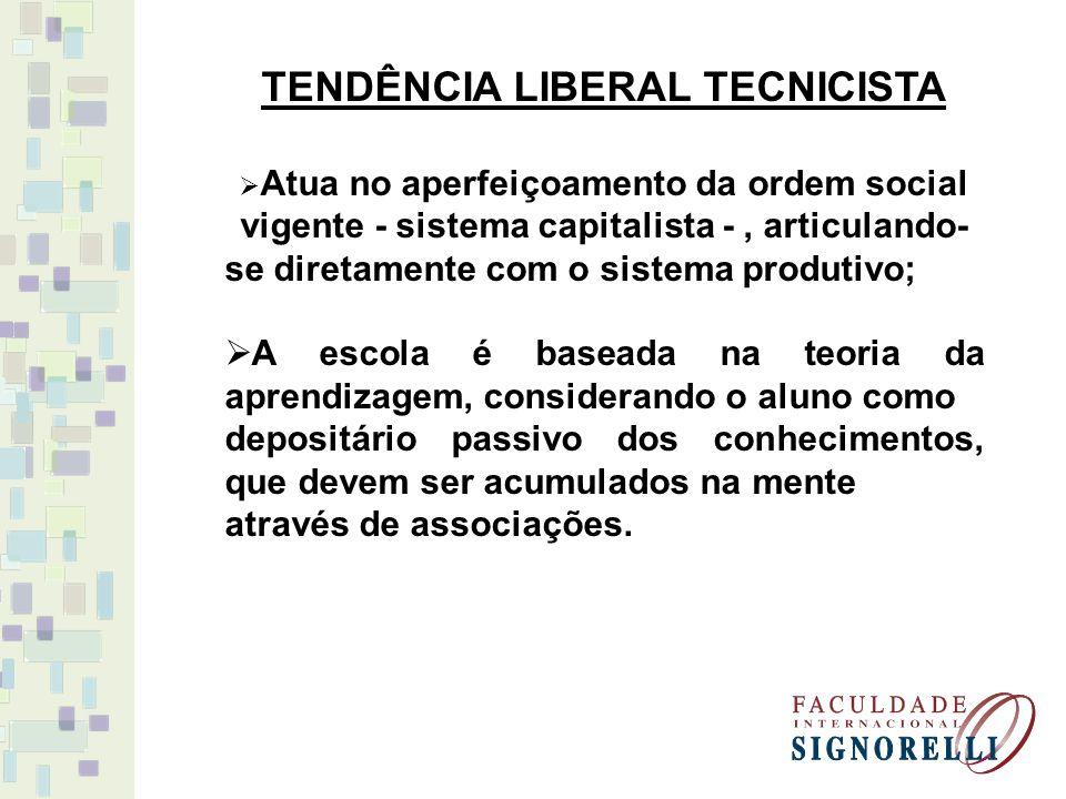 TENDÊNCIA LIBERAL TECNICISTA Atua no aperfeiçoamento da ordem social vigente - sistema capitalista -, articulando- se diretamente com o sistema produt
