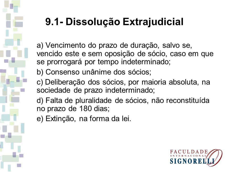 9.1- Dissolução Extrajudicial a) Vencimento do prazo de duração, salvo se, vencido este e sem oposição de sócio, caso em que se prorrogará por tempo indeterminado; b) Consenso unânime dos sócios; c) Deliberação dos sócios, por maioria absoluta, na sociedade de prazo indeterminado; d) Falta de pluralidade de sócios, não reconstituída no prazo de 180 dias; e) Extinção, na forma da lei.