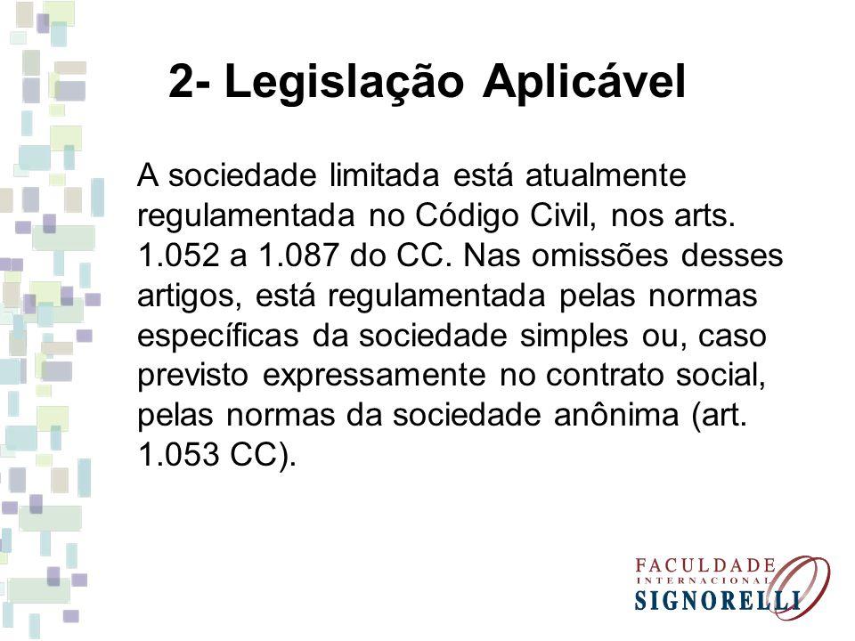 2- Legislação Aplicável A sociedade limitada está atualmente regulamentada no Código Civil, nos arts.
