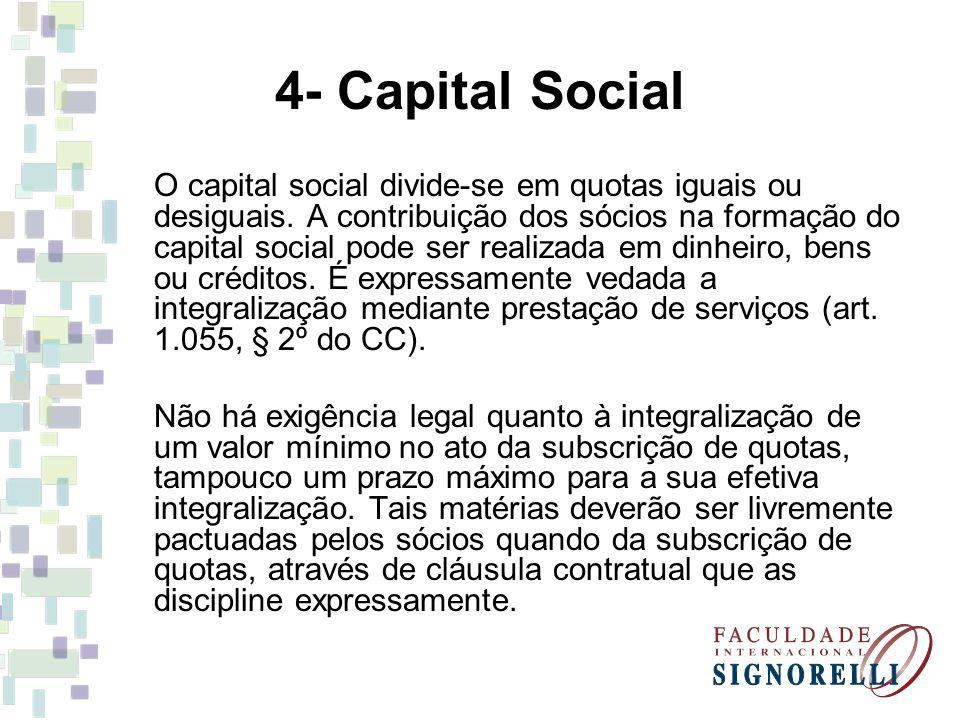 4- Capital Social As quotas da sociedade limitada podem ser cedidas, total ou parcialmente, salvo disposição contratual em contrário, a qualquer outro sócio, independentemente da anuência dos demais, ou a terceiro, se não houver oposição de sócios detentores de 1/4 do capital social (art.