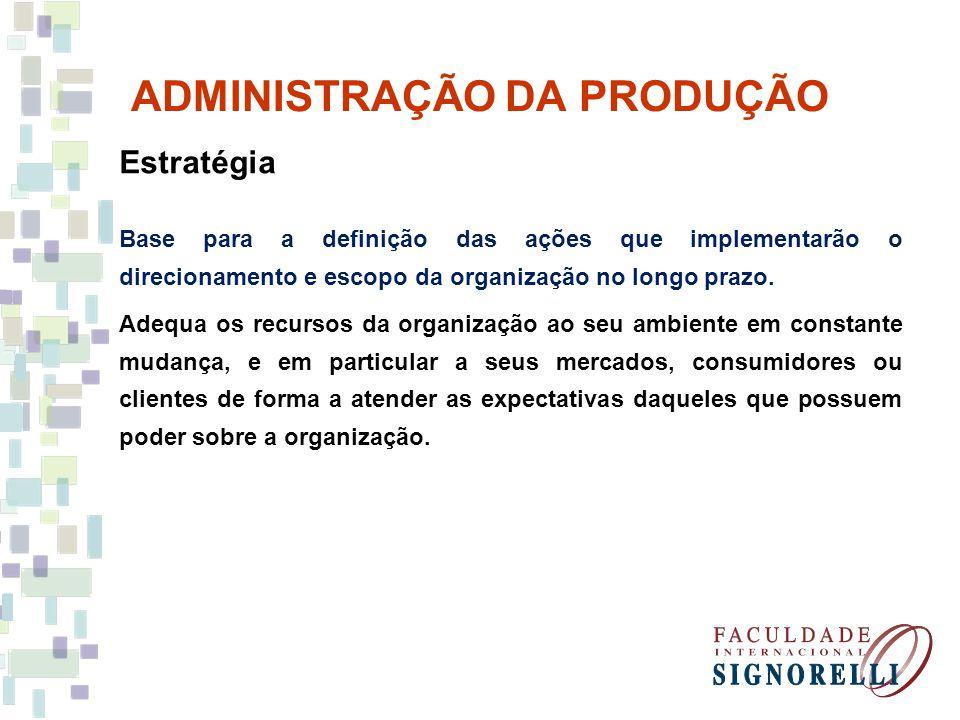 ADMINISTRAÇÃO DA PRODUÇÃO Estratégia Base para a definição das ações que implementarão o direcionamento e escopo da organização no longo prazo. Adequa