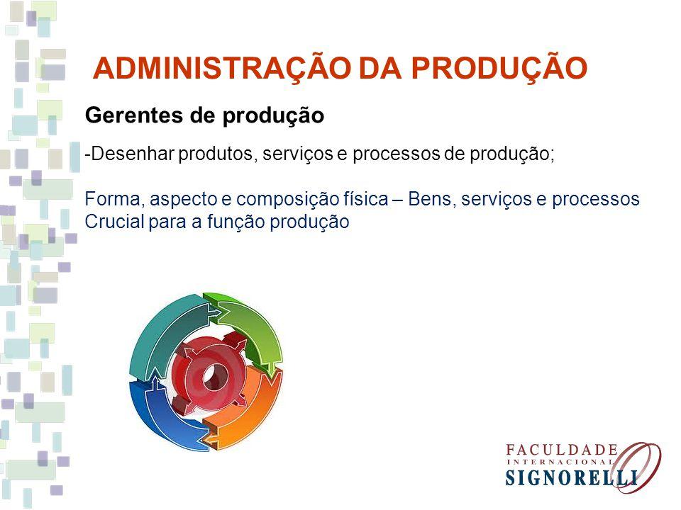 ADMINISTRAÇÃO DA PRODUÇÃO Gerentes de produção -Desenhar produtos, serviços e processos de produção; Forma, aspecto e composição física – Bens, serviç