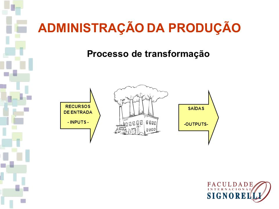 ADMINISTRAÇÃO DA PRODUÇÃO Processo de transformação Toda operação que gera bens e serviços Transformação Uso de recursos de entrada ou inputs, para mudar o estado ou condição de algo e, assim, produzir as saídas, ou outputs, do processo de transformação.