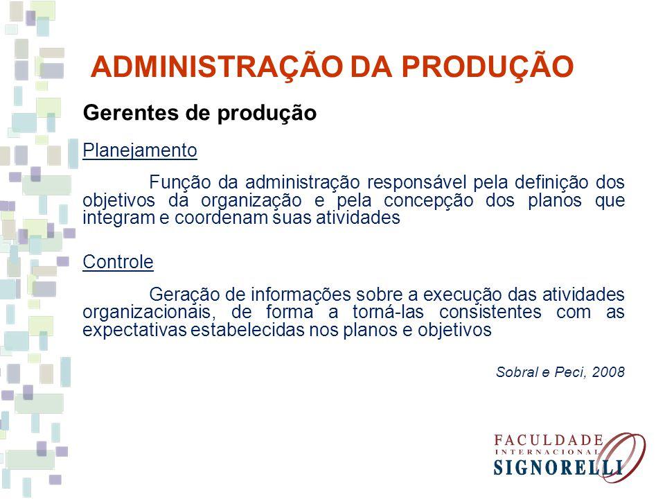 ADMINISTRAÇÃO DA PRODUÇÃO Gerentes de produção Planejamento Função da administração responsável pela definição dos objetivos da organização e pela con