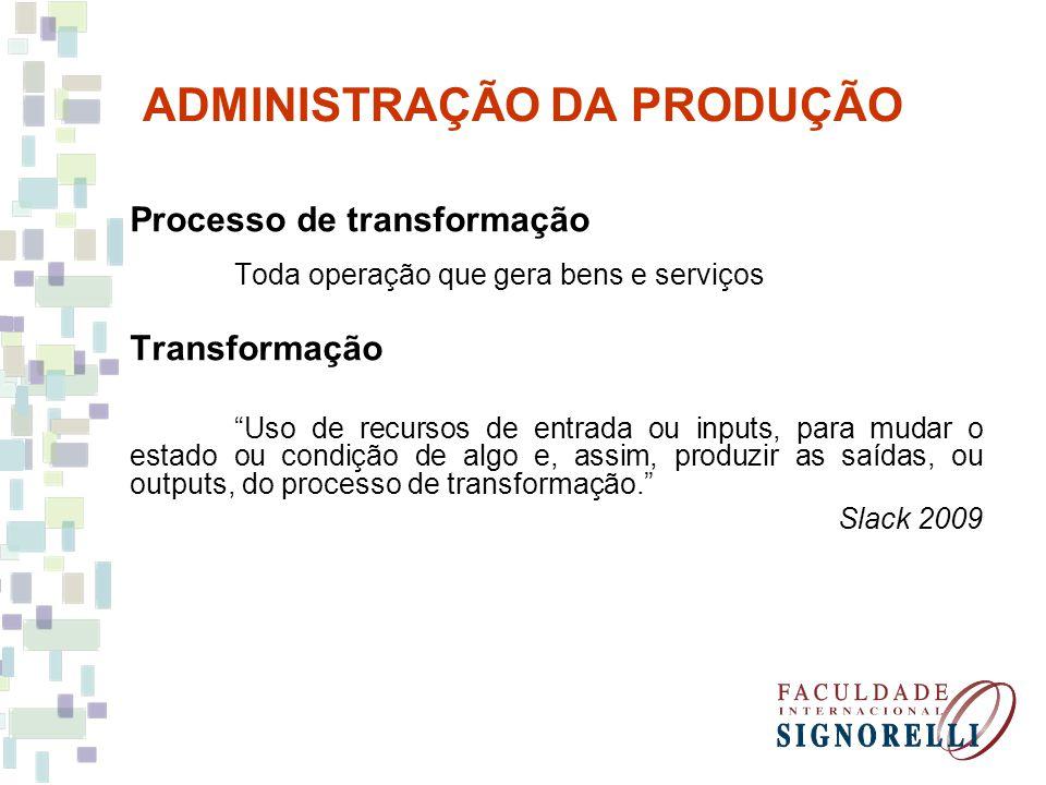 ADMINISTRAÇÃO DA PRODUÇÃO Processo de transformação Toda operação que gera bens e serviços Transformação Uso de recursos de entrada ou inputs, para mu